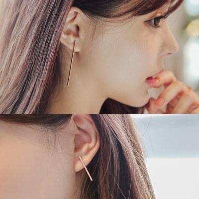 1043575 - <ER780-DB11> [Silver Post] long simple stick earrings