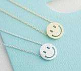 217569 - <SL182-IH16> [Silver] smile button necklace