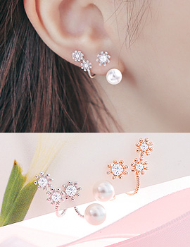 1043623 - <ER792-DJ15> [Silver Post] Ivy Flower two-way earrings