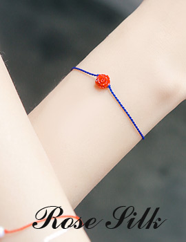 1043656 - <BC425-HF17> [Silver] rose silk chain bracelet