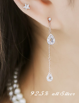 1043690 - <ER801-DJ16> [clip type] [Silver] up-down tear crystal earrings
