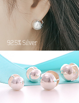 1043700 - <ER804-BD06> [Silver] one touch round ball earrings