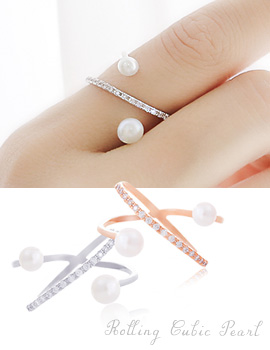 1043704 - <RI469-AC08> rolling cubic pearl ring