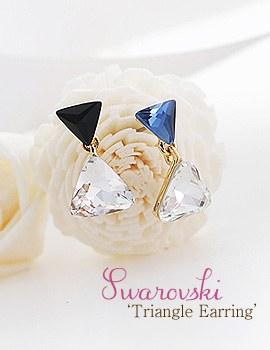 1043745 - <ER808-DD27> [clip type] Swarovski triangle earrings