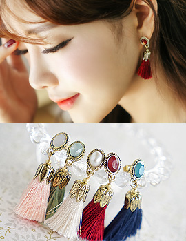 1043746 - <ER813-CG13> [clip type] micar tassel earrings