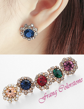 1043757 - <ER819-DB19> [Silver Post] frang Color stone earrings