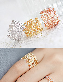 1043760 - <RI473-S> [Out of stock] wide lace ring