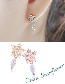 1043762 - <ER821-DJ25> [Silver Post] deila snow flower earrings