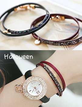1043805 - <BC443-HE20> [Same-Day Shipping] Swarovski Halloween leather bracelet