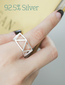 1043807 - <RI482-BD08> [Silver] triangle zigzag ring