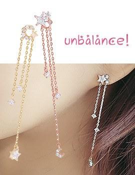 1043838 - <ER846-DE28> [Silver Post] star moon Unbalanced long chain earrings