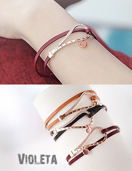 1043839 - <BC444-S> [Immediate out of stock] Violeta leather bracelet