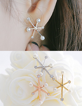 1043864 - <ER850-IC02> [Silver Post] bubble snow flower earrings