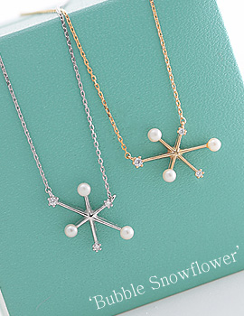 1043865 - <NE256-IC02> [Silver chain] bubble snow flower necklace