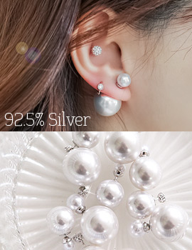 1043869 - <ER851-CB18/19> [Silver Post] pearl duet earrings