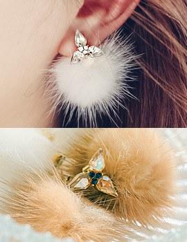 1043873 - <ER852-CG17> Adeline mink earrings