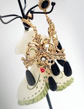 1043877 - <ER848-CG24> [She Pretty] [clip type] Hari black chandelier earrings