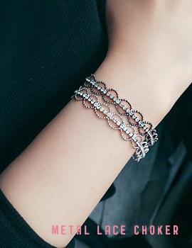 1043884 - <BC450-IF18> metal lace choker bracelet