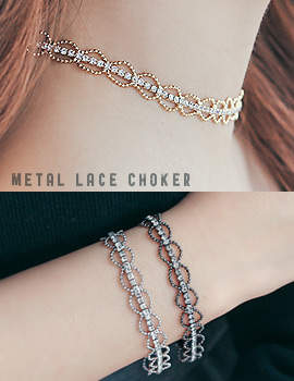1043885 - <JS175-IF18> [2bell set] metal lace choker set