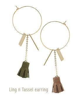 1043894 - <ER856-CG11> ring Ann tassel earrings