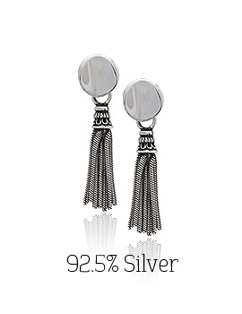 1043904 - <ER859-BE07> [Silver] Dolce Vita tassel earrings