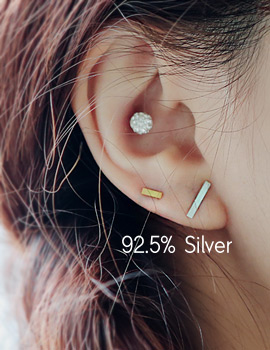 1043913 - <ER863-IC01> [Silver] double stick earrings
