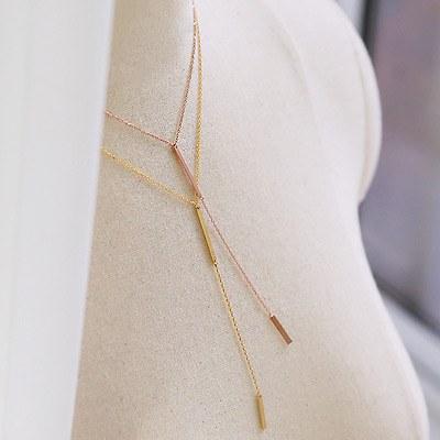 1043914 - <NE264-IC01> [Silver] double stick necklace