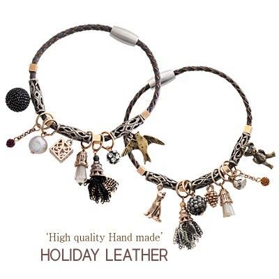 1043919 - <BC453-HA24> [handmade] Holiday leather bracelet