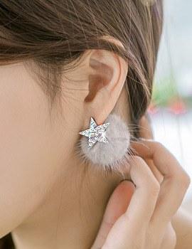 1043941 - <ER868-CH19> [clip type] star Ann mink earrings