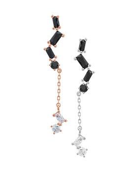 1043963 - <ER871-GK19> [Silver Post] black square long earrings