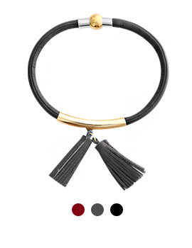 1043972 - <BC462_HB06> Kagan tassel leather bracelet
