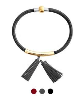 1043972 - <BC462_S> Kagan tassel leather bracelet