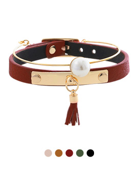 1043979 - <BC460_S> [Immediate out of stock] [2Piece 1set] pearl Ann leather bracelet