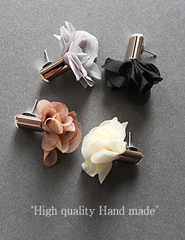 1044023 - <ER894_GF25> [handmade] [Silver Post] Flower chiffon earrings