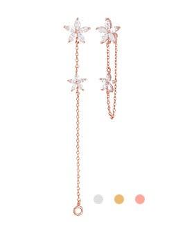 1044063 - <ER902_GE27> [Silver Post] Floral long earrings