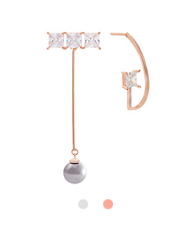 1044065 - <ER901_DC30> [Silver Post] unique holic Unbalanced earrings