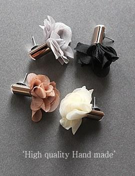 1044085 - <ER894_GF25> [clip type] [handmade] Flower chiffon earrings