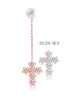 1044100 - <ER920_GF29~30> [Silver] pure cross earrings