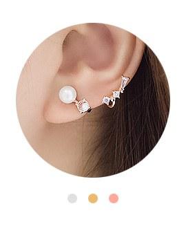 1044102 - <ER921_GF26> [Silver Post] star rhyme cubic earrings