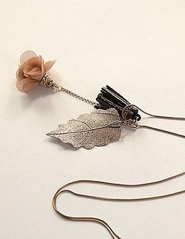 1044112 - <NE282_BC18> [handmade] Blooming chiffon & tassel necklace