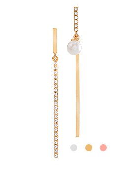 1044124 - <ER927_GH28> [Silver Post] [Same-Day Shipping] Unbalanced stick drop earrings