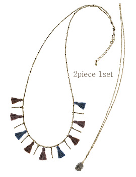 1044132 - <NE284_S> [2Piece 1set] colorful tassel long necklace
