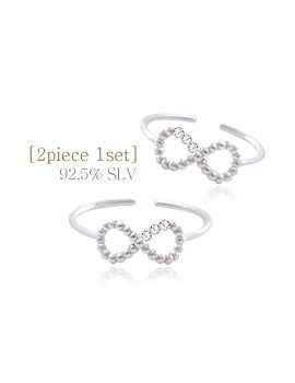 1044186 - <RI533_JF10> [2Piece 1set] [Silver] ribbon line ring