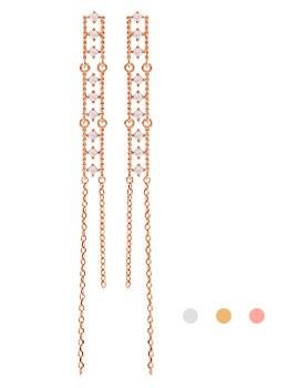 1044206 - <ER953_GD06> [Silver Post] bright long earrings