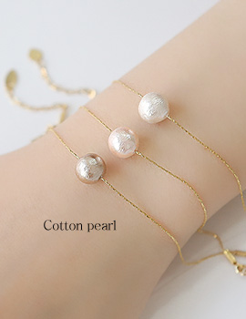1044223 - <BC489_HE10> Cotton pearl slim bracelet