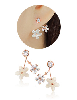 1044233 - <ER960_DE07> [Silver Post] Mother-of-Pearl Flower two-way earrings