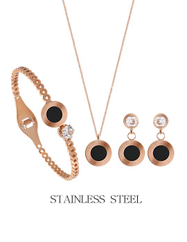 1044248 - <JS191_IF05> [necklace + earrings + bracelet] [stainless steel] seine round set