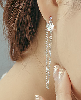 1044266 - <ER968_S> [Silver Post] diamond chain long earrings