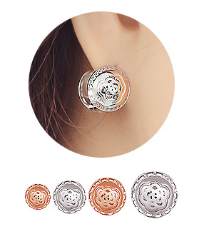 1044269 - <ER1415_BE00> [Silver] rose one touch earrings