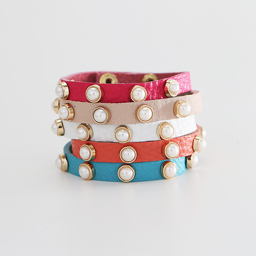 1044280 - <BC497_HB13> pearl decoration leather bracelet